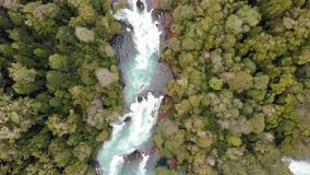 Aerial view of Huilo Huilo river in southern Chile. Aerial view of Huilo Huilo river near to Saltos del Petrohue in southern Chile stock video footage