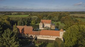 Aerial view of Hulshoff moated castle in North-Rhine Westphalia. Germany royalty free stock image