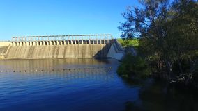 Aerial view of Hume Dam stock video footage