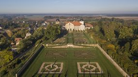 Aerial view of Hundisburg Palace and Baroque Garden in Saxony-Anhalt. Germany Royalty Free Stock Photography