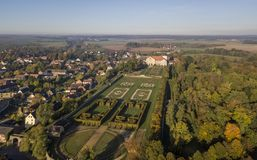 Aerial view of Hundisburg Palace and Baroque Garden in Saxony-Anhalt. Germany Stock Photography