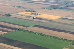 Aerial view of Hungarian fileds. Royalty Free Stock Image