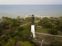 Aerial view of Hunting Island lighthouse and Atlantic Ocean in S. Outh Carolina stock photography