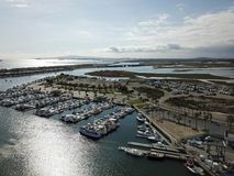 Aerial view of Huntington Beach Huntington Harbor in Orange County california. Showing the pacific ocean Stock Photo