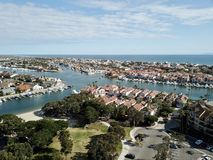 Aerial view of Huntington Beach Huntington Harbor in Orange County california. Showing the ocean Royalty Free Stock Images