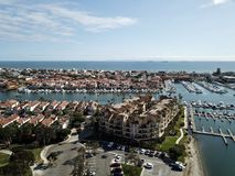 Aerial view of Huntington Harbor in Huntington Beach. Aerial landscape view of Huntington Harbor in Huntington Beach, Orange County, Southern California with Royalty Free Stock Photography