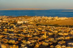 Aerial view on Hurghada city from the airplane royalty free stock image