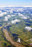 Aerial view of the Hurunui River and North Canterbury Plains, Ne Royalty Free Stock Images