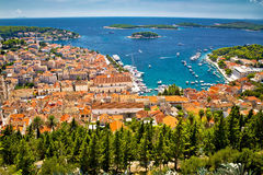 Aerial view of Hvar rooftops and harbor Stock Images