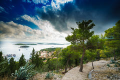 Aerial view of Hvar`s harbor at claudy day. Hvar is one of the most popular tourist destination of Croatia. September 2016 Royalty Free Stock Images