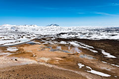 Aerial view of Hverarönd. At namafjall near Myvatn in Iceland stock photo