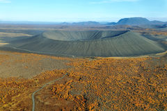 Aerial view of Hverfjall crater Stock Photos