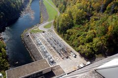 Aerial View of A Hydro-Electric Plant. Looking down at an Hydro-electric plant beside a lake Royalty Free Stock Image