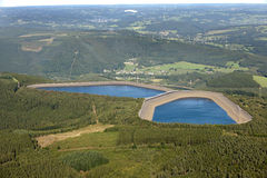 Aerial View : Hydroelectric plant in countryside Stock Photo