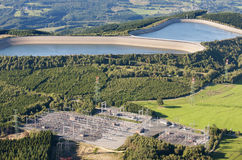 Aerial View : Hydroelectric plant in countryside Royalty Free Stock Images