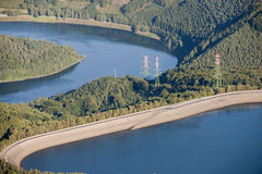 Aerial View : Hydroelectric plant in countryside. Aerial View : Hydroelectric plant in the countryside with electric pylons, transmission towers Stock Photography