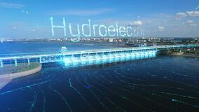 An aerial view a of the hydroelectric power station with hydroelectricity text label and flowing river. 3D infographic