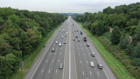 Aerial view of I80 highway in New Jersey stock video footage