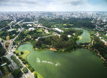 Aerial view of Ibirapuera in Sao Paulo, Brazil Royalty Free Stock Image