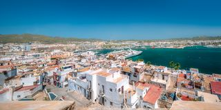 Aerial view of Ibiza old town and fortress, Spain. Aerial view of Ibiza old town with white houses, fortress and cathedral, Spain stock photography