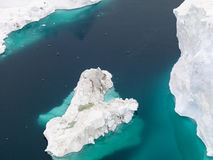 Aerial view of the icebergs on arctic ocean at Greenland Stock Photography