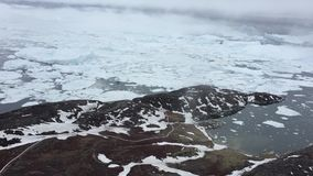Aerial view of the icefjord in Greenland stock video