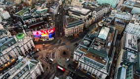 Aerial View of Iconic Famous Landmark Square Piccadilly Circus Stock Photos