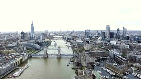 Aerial View Iconic Landmarks and Cityscape of London. Feat. Tower Bridge, Tower of London, City Hall, River Thames, The Shard Building, City of London Financial Royalty Free Stock Photos