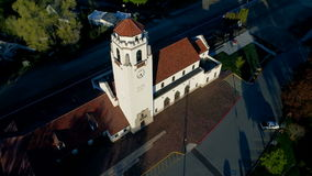 Aerial view of Iconic train depot in Idaho stock video footage
