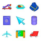 Aerial view icons set, cartoon style. Aerial view icons set. Cartoon set of 9 aerial view vector icons for web isolated on white background Royalty Free Stock Image