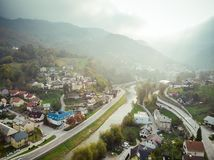 Aerial view of Idrija, small town in western Slovenia.  stock images