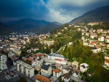 Aerial view of Idrija, small town in western Slovenia.  royalty free stock photos