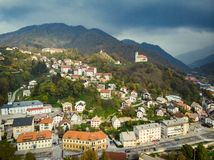 Aerial view of Idrija, small town in western Slovenia.  royalty free stock images