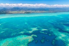 Aerial view of idyllic azure turquoise blue lagoon of West Coast barrier reef, New Caledonia, Oceania, Coral sea. Aerial view of idyllic azure turquoise blue stock photo