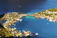 Scandinavia, Norway, Nordic Rugged Landscape, Lofoten Islands. Aerial view - Idyllic Norwegian Fjord and Reine fishing village on Lofoten Islands, Norway stock photos