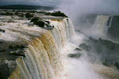 Aerial view - Iguassu Falls in Winter. Iguassu Falls in Winter with a near record amount of water flowing over them. View at the Devil's Throat from the stock photography