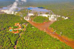 Aerial view of Iguazu falls. Royalty Free Stock Photography