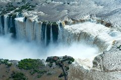 Aerial view of Iguazu Falls. In the border of Argentina and Brazil royalty free stock photos