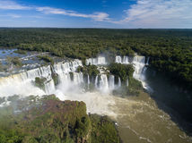 Aerial view of Iguazu Falls, on the border of Brazil and Argentina Royalty Free Stock Images