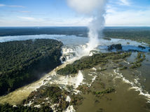Aerial view of Iguazu Falls, on the border of Brazil and Argentina Royalty Free Stock Photos