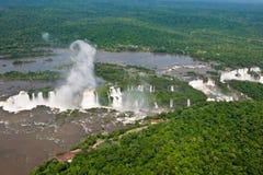 Aerial view Iguazu Falls, Overview Iguazu Waterfalls and Rainforest royalty free stock photo