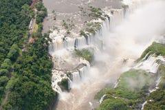 Aerial view Iguazu Falls, Overview Iguazu Waterfalls and Rainforest stock photos