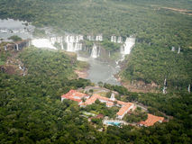 Aerial View Of Iguazzu Falls And Hotel. A view from a helicopter down at Iguazu Falls Stock Photo