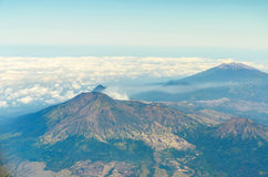 Aerial view of ijen volcano in java indonesia. Ijen volcano in java indonesia view from airplane Stock Image
