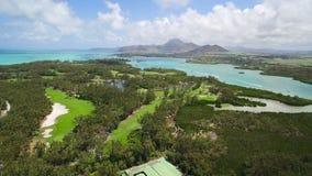 Aerial View: Ile aux Cerfs (Leisure Island) stock video