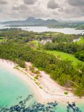 Aerial view of Ile aux Cerfs, Mauritius.The famous deer island. royalty free stock photos