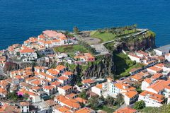 Aerial view Ilheu gardens Camara do Lobos at Madeira, Portugal Stock Photos