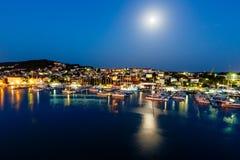 Aerial View on Illuminated Coast of Island Ciovo Stock Photo