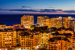 Aerial View on Illuminated Fontvieille and Monaco Harbor Stock Image