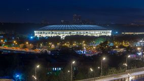 Aerial view of Luzhniki Stadium and complex from rooftop timelapse, Moscow, Russia at night. stock footage